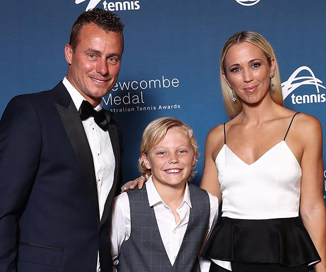 Cruz was all smiles with his mum Bec and dad Lleyton at an event in Melbourne on Monday. *(Image: Getty)*