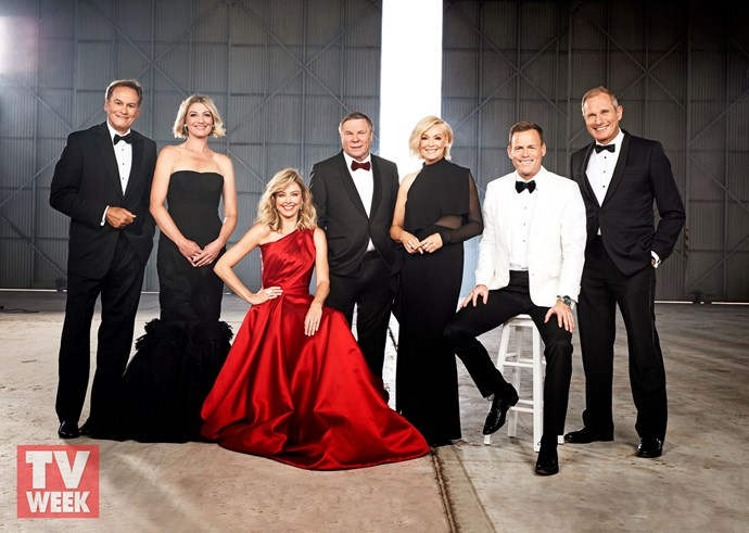 The *60 Minutes* team (from left): Liam Bartlett, Tara Brown, Allison Langdon, Charles Wooley, Liz Hayes, Tom Steinfort and Ross Coulthart.