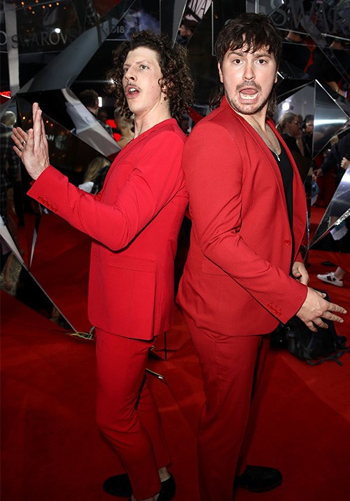 Oh Duck. Adam Hyde and Reuben Styles of dance duo Peking Duk turned up in the same outfit.