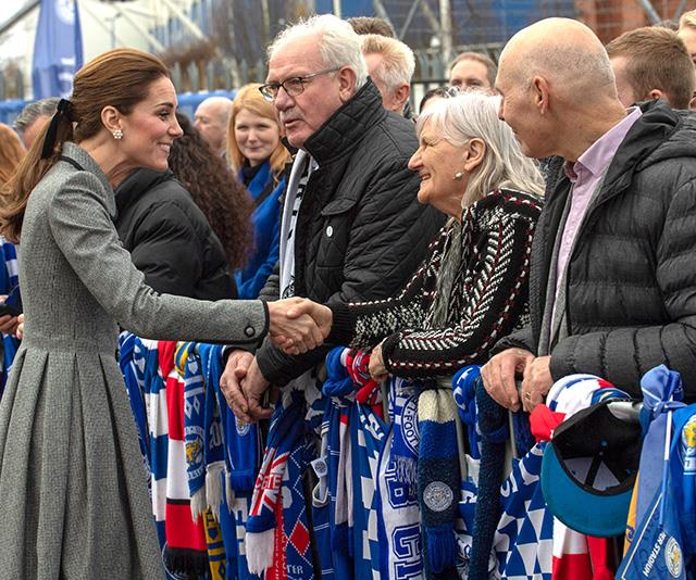 Kate chatted about a very important impending royal arrival with fans in Leicester. *(Image: Getty)*