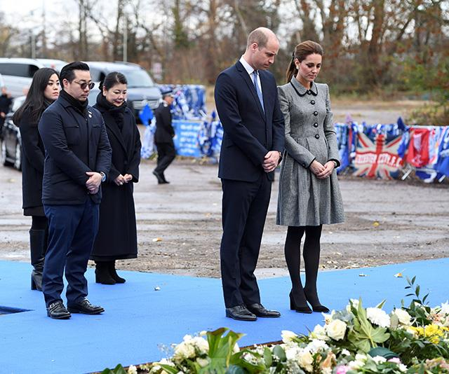 The couple paid their respects to five people from Leicester who had died in a helicopter crash. *(Image: Getty)*