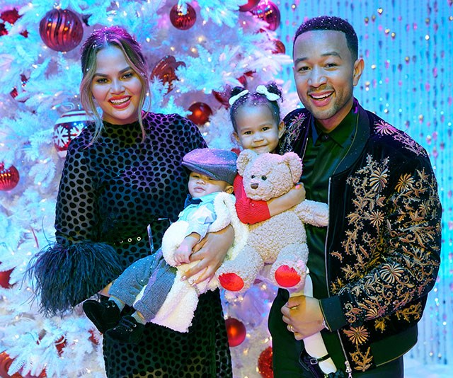 The whole family stars in the show! How cute is this group shot of Chrissy and John with son Miles and daughter Luna. *(Image: Getty)*