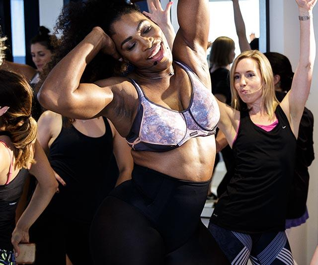Sports stars like Serena Williams (pictured) have nailed it when it comes to finding active wear that is form flattering.