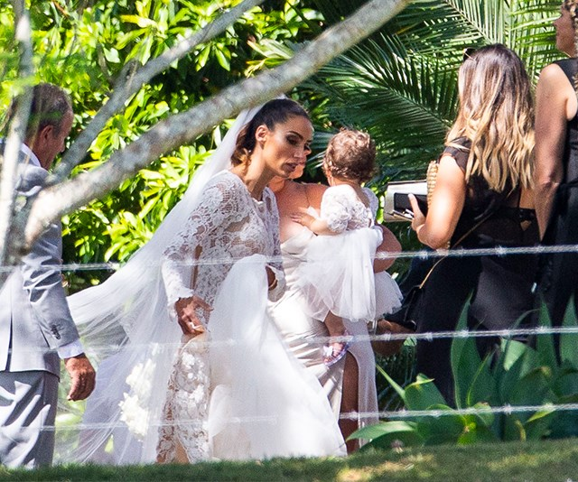 """Mr and Mrs Bachie! Snezana stunned in her Pallas Couture lace gown as she wed Sam Wood in a stunning Byron Bay ceremony. (Image: Media Mode) [Check out all the amazing new wedding photos here!](https://www.nowtolove.com.au/reality-tv/the-bachelor-australia/sam-wood-snezana-markoski-wedding-52733
