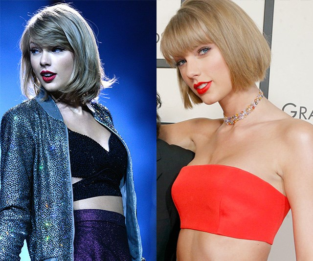 Only a year ago (L) Taylor Swift's silhouette was markedly different! These days (R), the star's subtle yet more pert cleavage has prompted a wave of speculation.