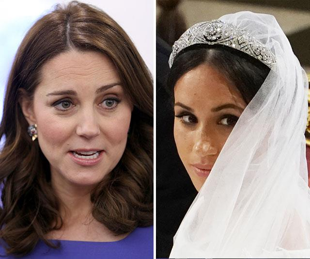 Kate gets emotional: Meghan's demands have driven the royal family to breaking point, insiders say. *(Both images: Getty)*
