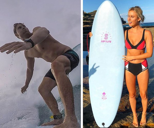 Both Chris and Liv are ocean lovers and keen surfers. *(Images L-R: Instagram @drchrisbrown/Instagram @livphyland)*