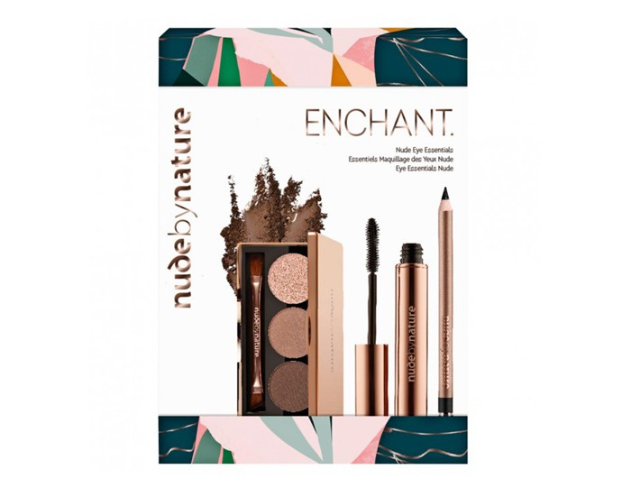"""With a mascara, eyeliner and eyeshadow palette, this makeup kit is perfect for everyday wear and nights out.  <br><br> [Nude by Nature Enchant Nude Eye Essential pack](https://www.priceline.com.au/cosmetics/makeup-gift-sets/makeup-gift-sets/nude-by-nature-enchant-nude-eye-essentials-3-pack