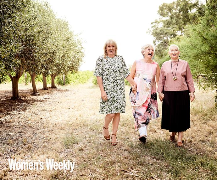 Maggie with her daughters Elli (left) and Saskia, who are carrying on the foodie tradition.
