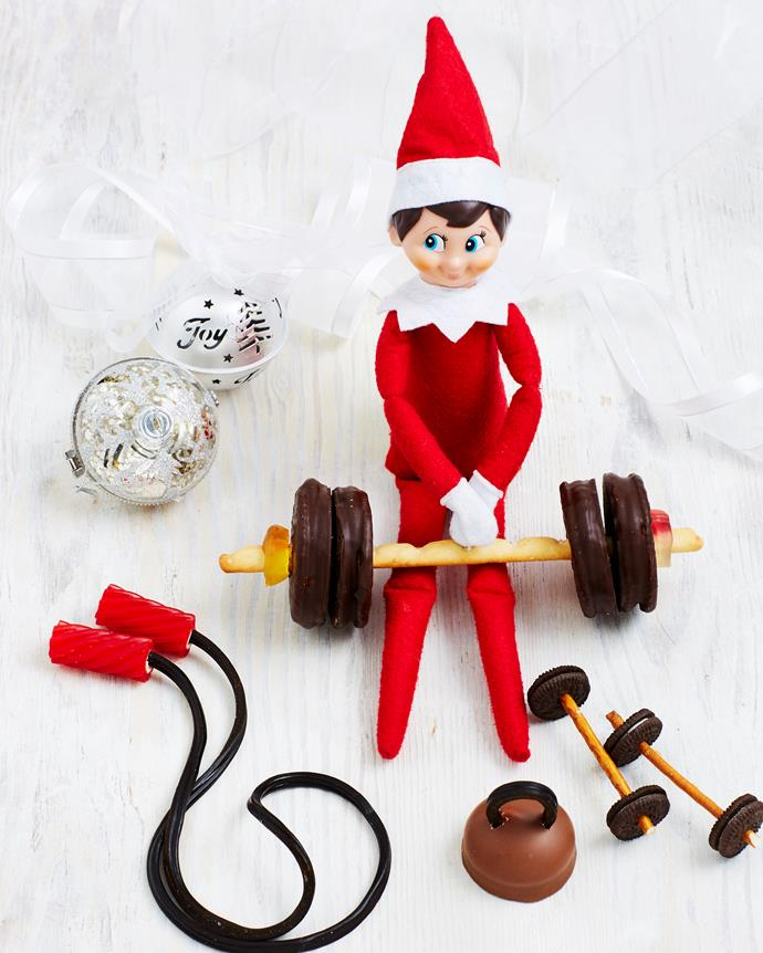 Give your Elf an edible home gym! *(Source: Woman's Day)*