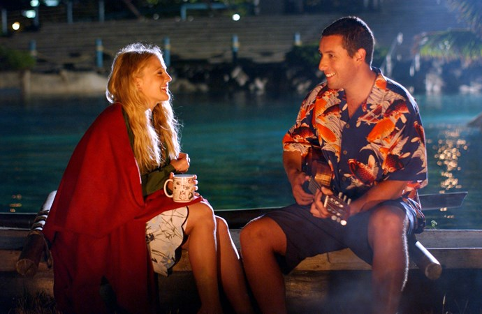 **50 FIRST DATES (2004)** <br><br> Well known womanizer Henry (Adam Sandler) is instantly drawn to Lucy (Drew Barrymore), a beautiful woman he meets at his local café in Hawaii. After finding out she has a form of amnesia from a car accident, he attempts a long term relationship with her despite her inability to form new memories.