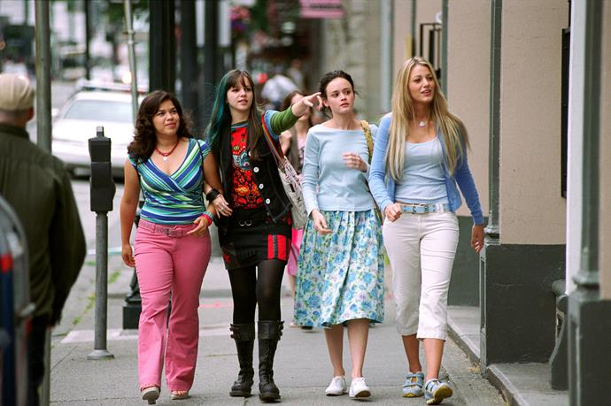 **SISTERHOOD OF THE TRAVELLING PANTS (2005)** <br><br> When four inseparable best friends are due to spend their first summer away from each other , they discover a pair of jeans on their last day together that surprisingly fit them all to a tee. Over the coming summer they share the jeans between them as a way of staying connected while trying to take on life's hurdles without each other.