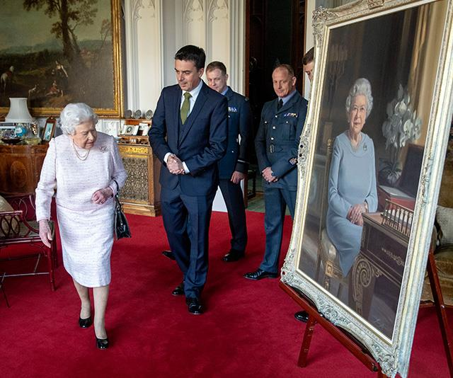 A stunning new portrait of the Queen was unveiled during the engagement. *(Image: AAP)*
