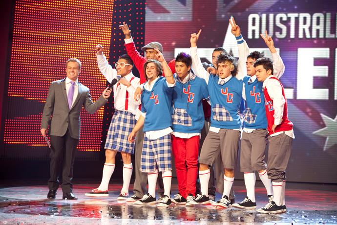 Former *AGT* stars include dance troupe Justice Crew.