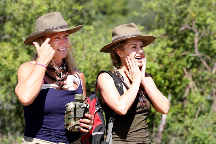Natali with Lisa Curry on *I'm A Celeb* in 2017.