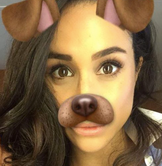 Meghan even manages to make the Snapchat dog filter look good.