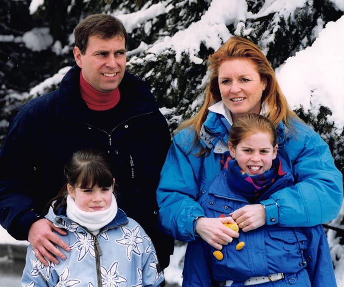 Prince Andrew, Sarah Ferguson and Princesses Eugenie and Beatrice in 1999. *(Source: Getty)*