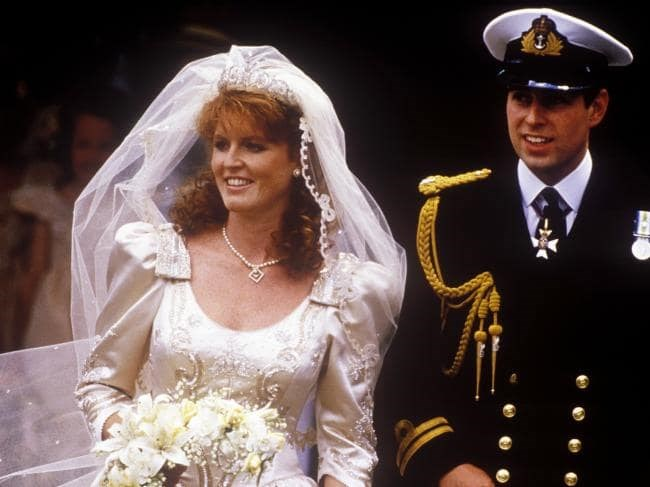 Sarah Ferguson and Prince Andrew at their wedding in 1986. *(Source: Getty)*