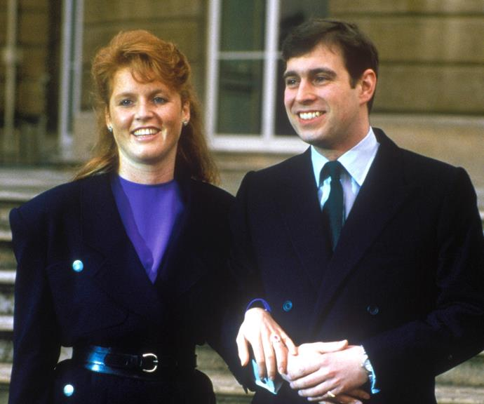 Sarah and Prince Andrew after their engagement announcement on 17th March 1986. *(Source: Getty)*