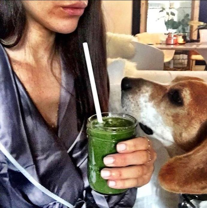 We wonder if she's converted Harry to become a green juice lover...