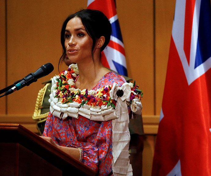Meghan passionately delivered a speech in Fiji on access to education. *(Image: Getty)*