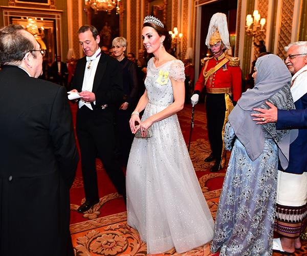 The Duchess of Cambridge also wore a Jenny Packham gown for the white tie event. *(Image: Getty Images)*