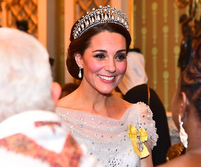The Cambridge Lover's Knot tiara seems to be Catherine's favourite. *(Image: AAP)*