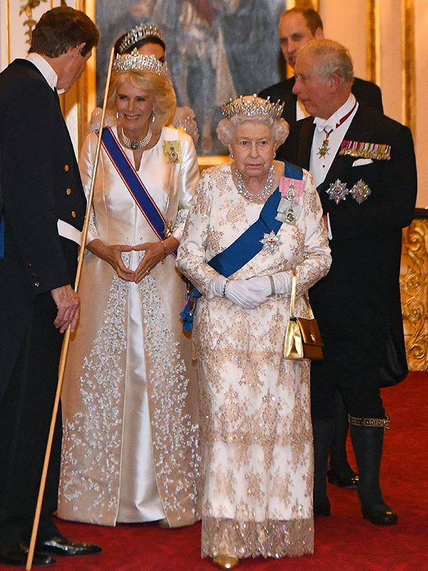 The Queen, flanked by the Prince of Wales and Duchess of Cornwall, looked just as splendid. *(Image: Getty Images)*