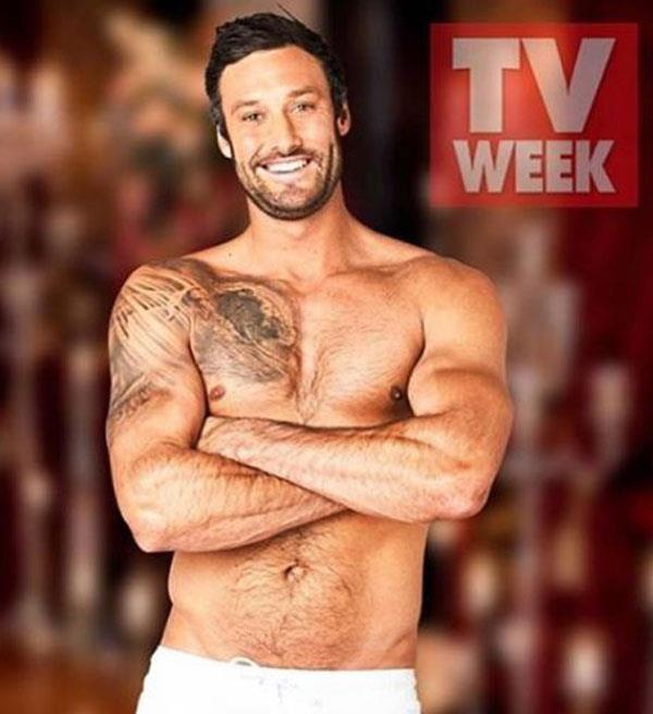 Showing off his body at a TV Week shoot.