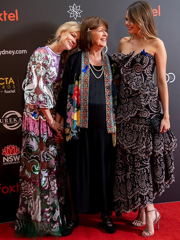 Nicole Kidman, mother Janelle Kidman and niece Lucia Hawley on the red carpet. *(Image: Media Mode)*