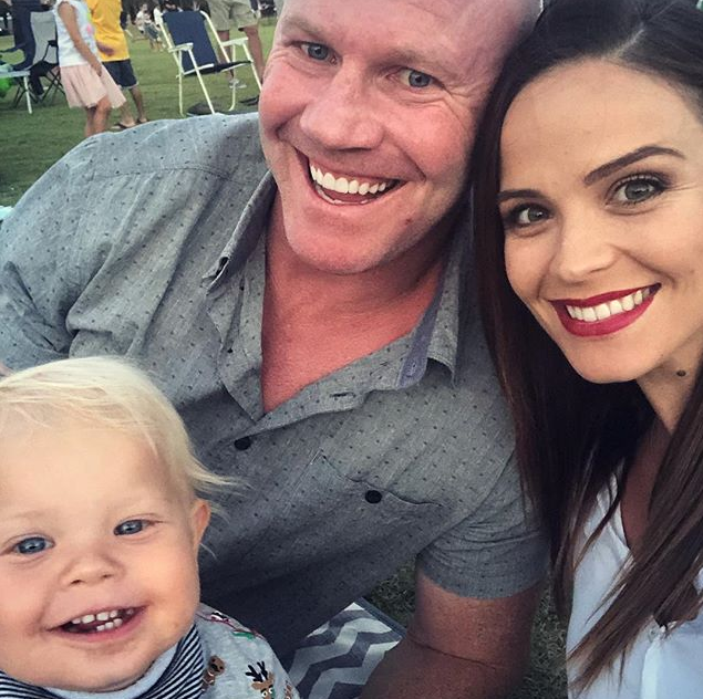 The family of three are about to become a family of four! *(Image: Instagram / @laurenbrant)*