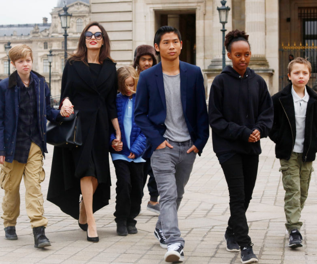 Growing up! Angelina Jolie with Shiloh  Maddox, Vivienne, Pax, Zahara and Knox in Paris, France early in 2017. *Image: Getty.*