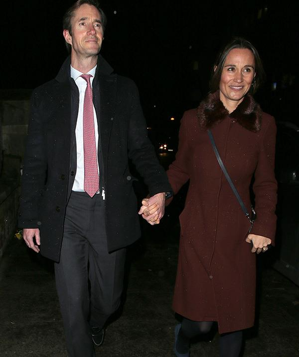 Pippa and James wrapped up warm for the December carol service. *(Image: Getty)*