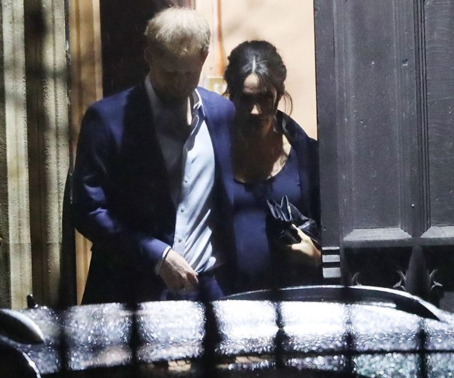 That bump! Meghan's growing tummy was the biggest we've ever seen it since her pregnancy announcement. *(Image: The Mega Agency)*