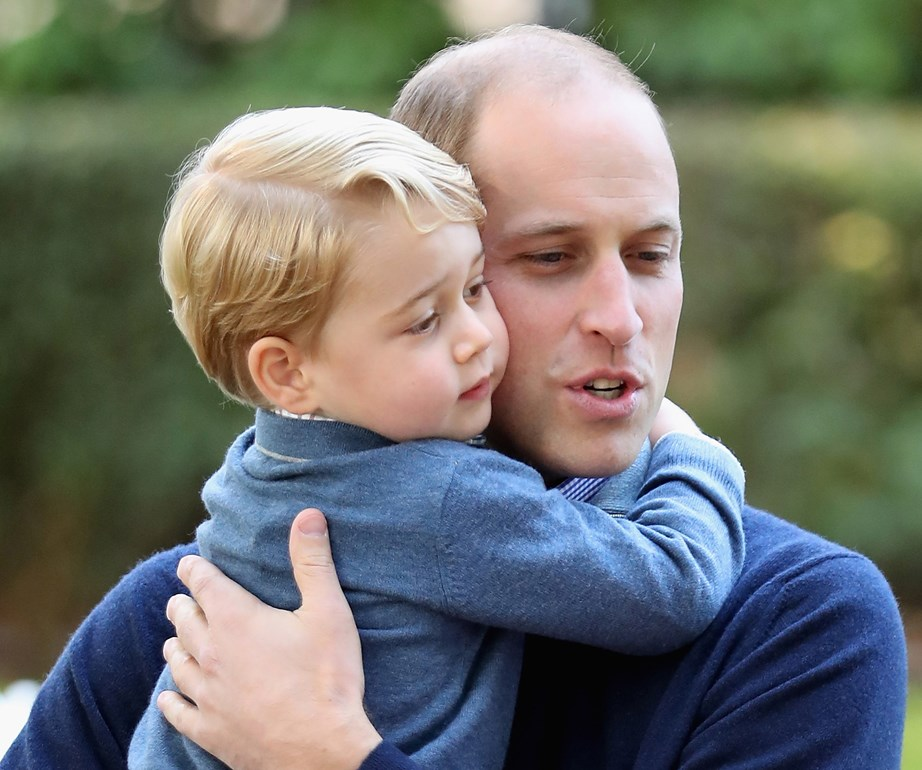 Prince George with his dad, Prince William. *(Source: Getty Images)*