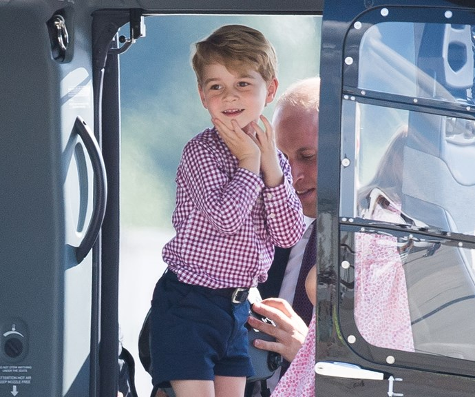 Prince George looking peak ADORABLE in a helicopter, 2017. *(Source: