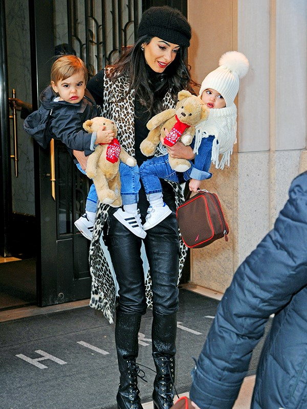 Amal Clooney looked effortlessly chic with her twins. *(Image: Mega)*
