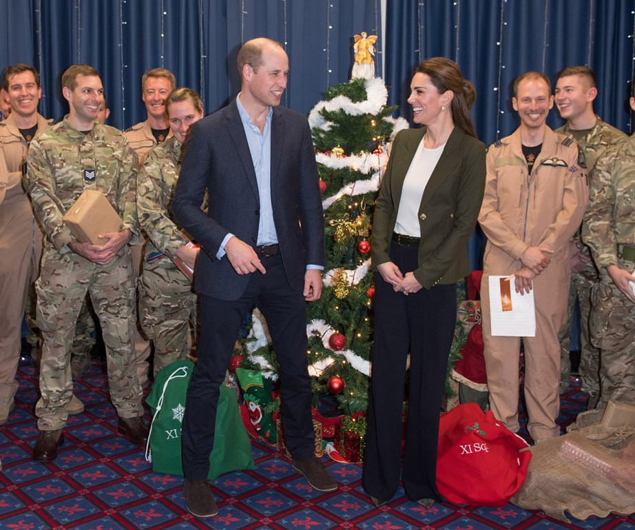 William and Kate flew to Cyprus in December 2018 to give service men and women presents from their families back home. *(Image: Getty)*