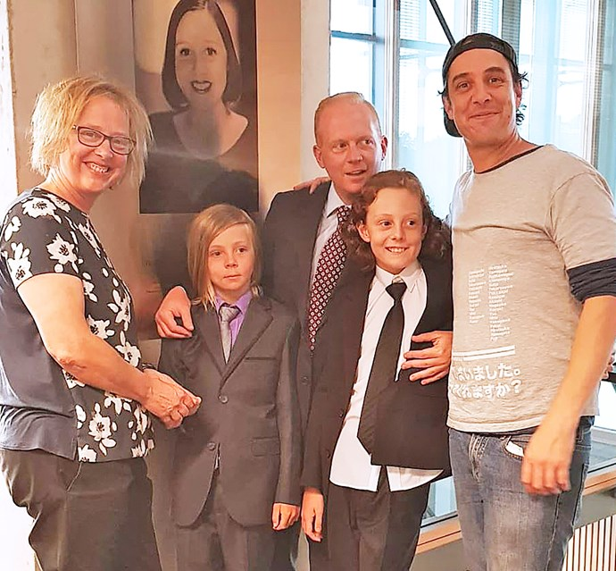 Samuel's sister Hilde; Connie's sons Hamilton and Wiloughby with their dad Mike; and Samuel.