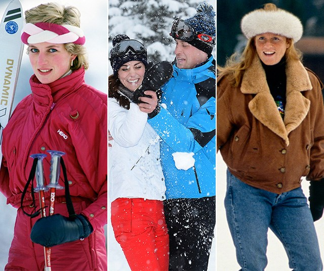 From the flamboyant 80s to the frivolous 2010s, the royals know how to dress for fun on the slopes. *(Images: Getty)*
