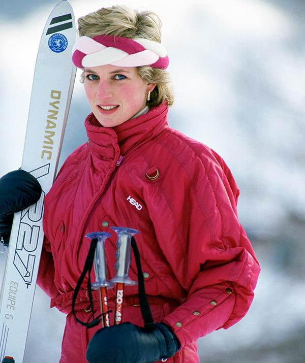 Diana embodies true 1980s fashion with this bold plaited head piece. *(Image: Getty)*