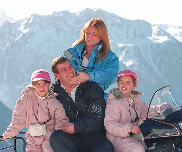 Despite separating and then finalising their divorce in 1996, Eugenie's parents stayed remarkably close, and that's exemplified in this heartwarming snap of the family-of-four holidaying in Verbier, Switzerland, to celebrate her dad Prince Andrew's 38th birthday. And, check out those matching pastel pink outfits! *(Image: Getty)*
