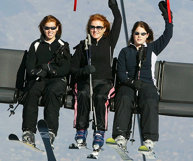 "Looking ready to cut some shapes on the snow, Princess Eugenie waves to the cameras while on a ski holiday in Switzerland with her mum and sister. <br><br> And with so much time spent on the snow, it's no surprise that that was exactly where the Princess met her future husband, Jack Brooksbank. <br><br> Six years later Eugenie met Jack at a ski resort in Switzerland. Speaking of when they met, [the Princess has said](https://www.hellomagazine.com/royalty/2019020167323/princess-eugenie-childhood-skiing-throwback-sarah-ferguson/|target=""_blank""): ""We met when I was 20 and Jack was 24, and fell in love. We both had the same passions and drive for life."""