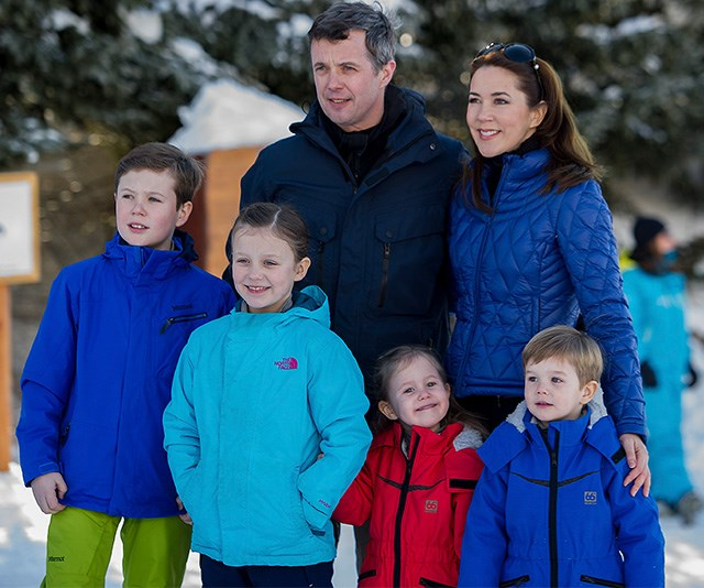 Princess Mary looks cool and casual with her sunnies at the ready as she and her family pose for a photo in Verbier. *(Image: Getty)*