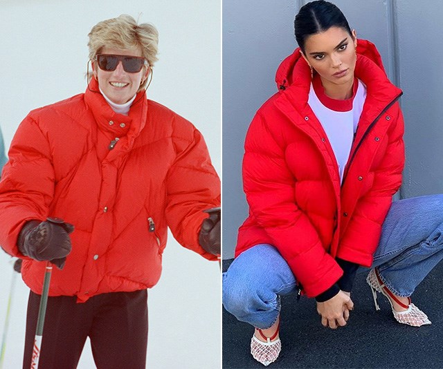 Trend setting since ages ago - Diana's red puffer is reminiscent of a style worn by model Kendall Jenner recently, and fashion fanatics are going gangbusters for it. *(Images: (L) Getty (R) Instagram / @Kendalljenner)*