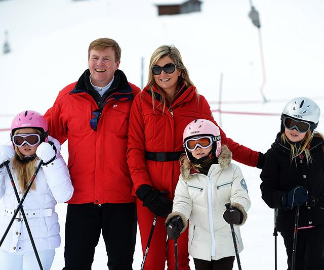 Royal red is well and truly in vogue at this lush skiing destination, and the Dutch royals are case in point. *(Image: Getty)*