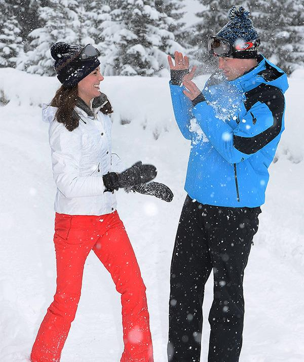 Kate can even make a snow fight seem chic. *(Image: Getty)*