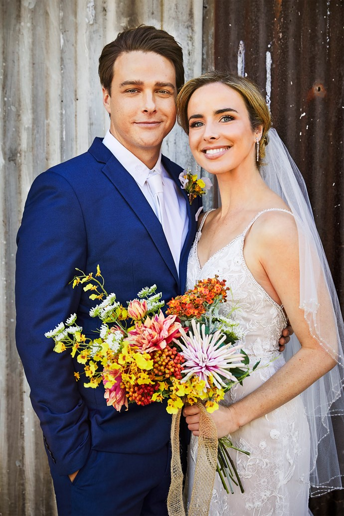 Colby and Chelsea are picture perfect on their wedding day... but what *Home and Away* wedding would be complete without a little drama?   Be sure to pick up your copy of this week's issue of **TV WEEK** to see how the wedding causes chaos in Summer Bay.