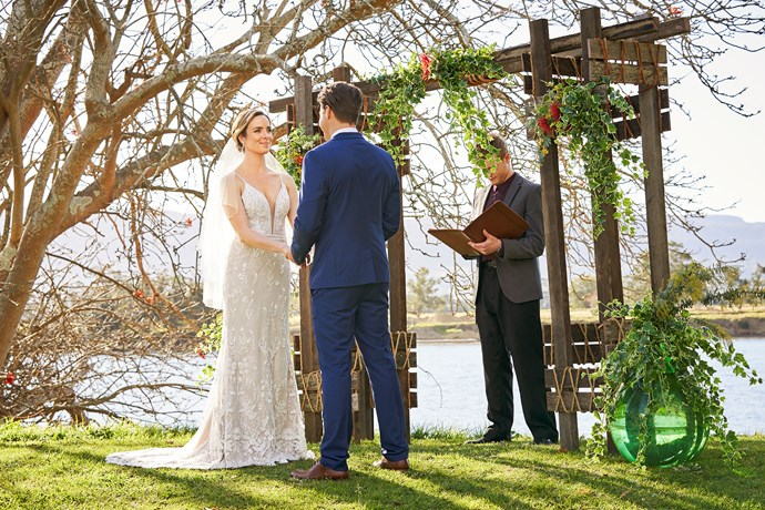 The happy couple recite their heartfelt vows to one another.