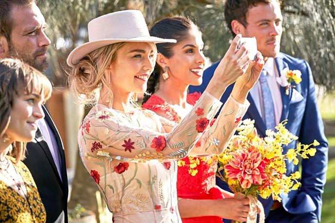 Bella, Robbo, Jasmine, Willoe and Dean watch on as their friends exchange vows.